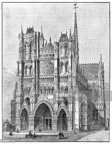 Antique illustration of Amiens cathedral