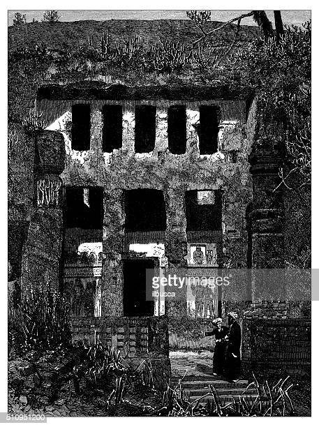 antique illustration of ancient cavern in bamyab area (afghanistan) - sandstone stock illustrations, clip art, cartoons, & icons