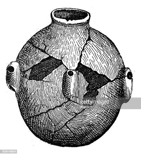 antique illustration of ancient earthenware - earthenware stock illustrations, clip art, cartoons, & icons