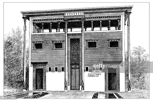 antique illustration of ancient egyptian house - pediment stock illustrations, clip art, cartoons, & icons