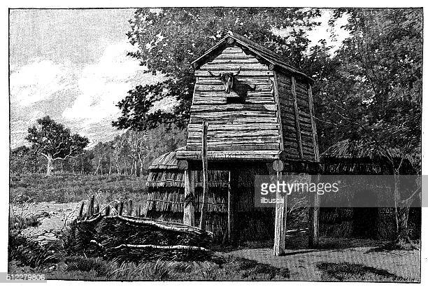 Antique illustration of ancient Germanic dwelling