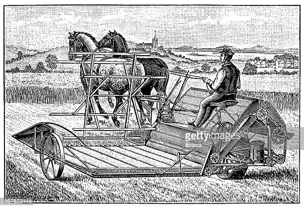 antique illustration of ancient reaping machine - 19th century stock illustrations, clip art, cartoons, & icons