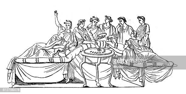 Antique illustration of ancient Roman banquet
