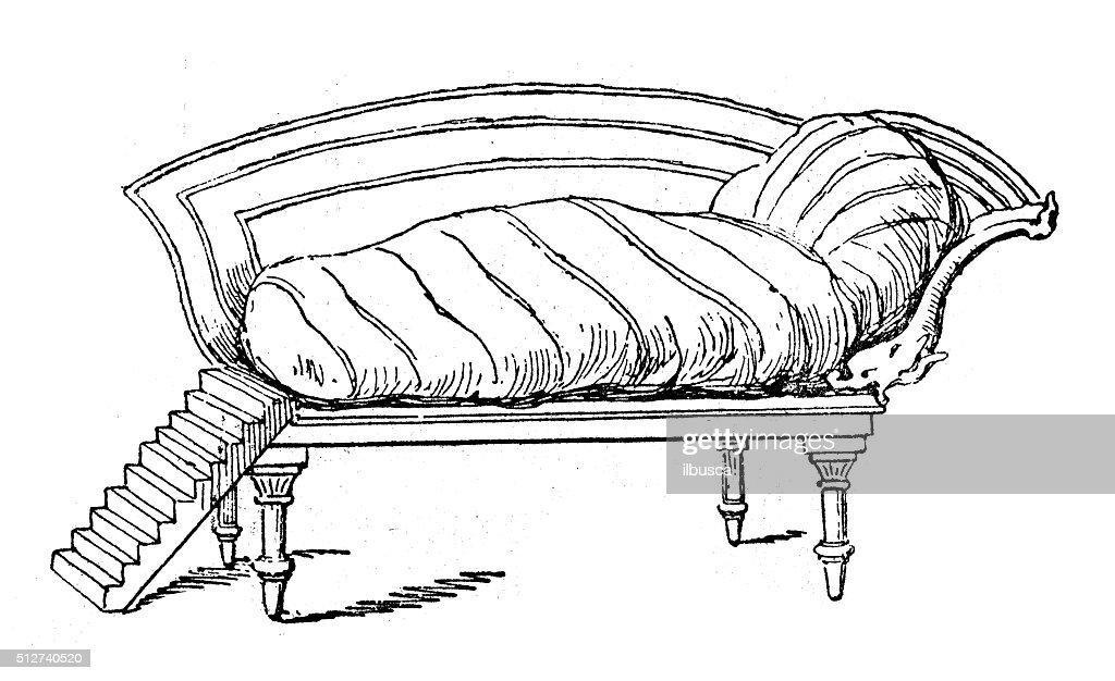 Antique illustration of ancient Roman bridal bed : Stock Illustration