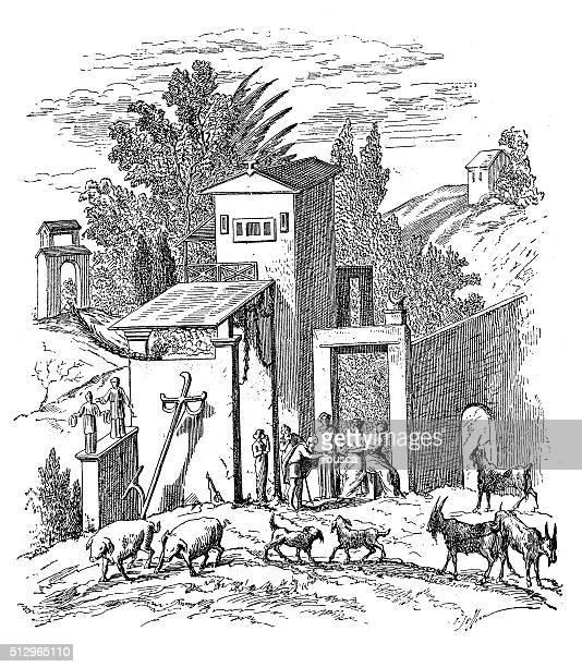 Antigo ilustração de Roman antiga Casa de Quinta