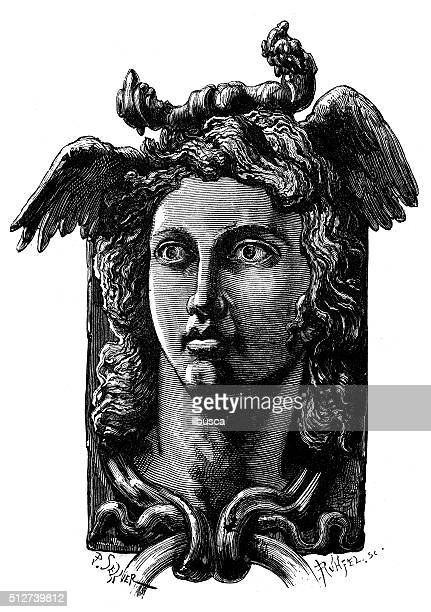 illustrations, cliparts, dessins animés et icônes de illustration de la rome antique décorative anthropomorphisme heurtoir - marteaudeporte