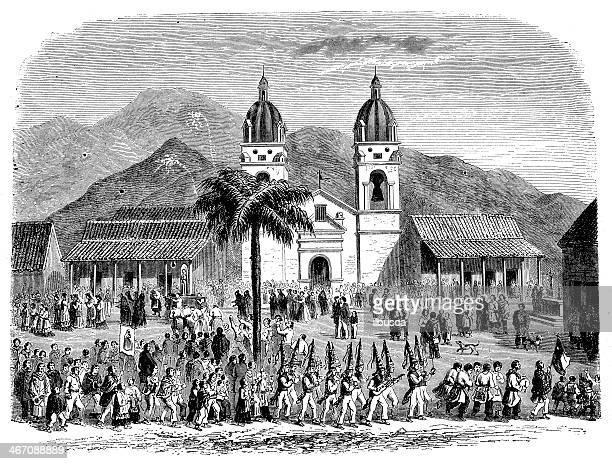 Antique illustration of Andacollo, Chile