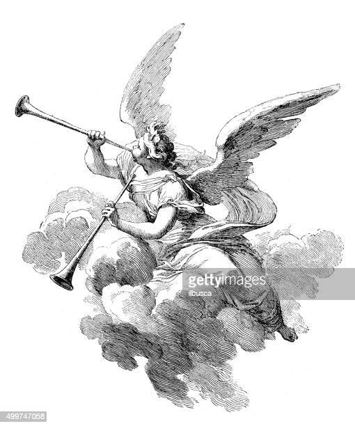Antique illustration of angel playing  trumpets