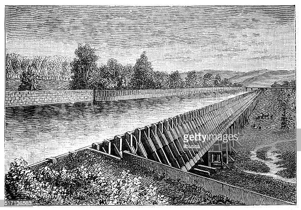 antique illustration of aqueduct - aqueduct stock illustrations, clip art, cartoons, & icons