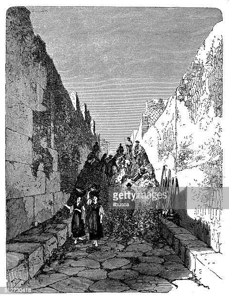 antique illustration of archaeological excavations in pompeii during 19th century - mt vesuvius stock illustrations, clip art, cartoons, & icons