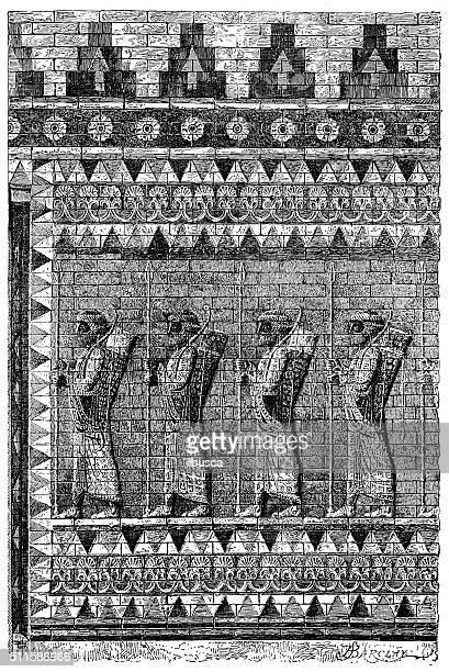 "antique illustration of ""archers frieze"" from susa (shush, iran) - glazed food stock illustrations, clip art, cartoons, & icons"