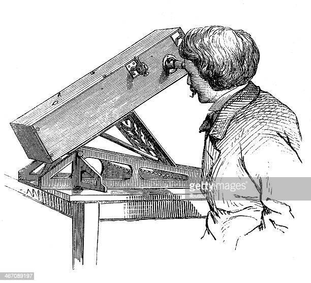 Antique illustration of astronomer