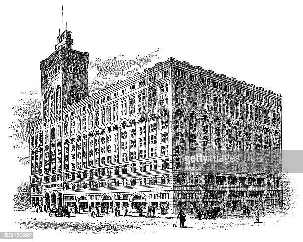 Antique illustration of Auditorium Building, Chicago