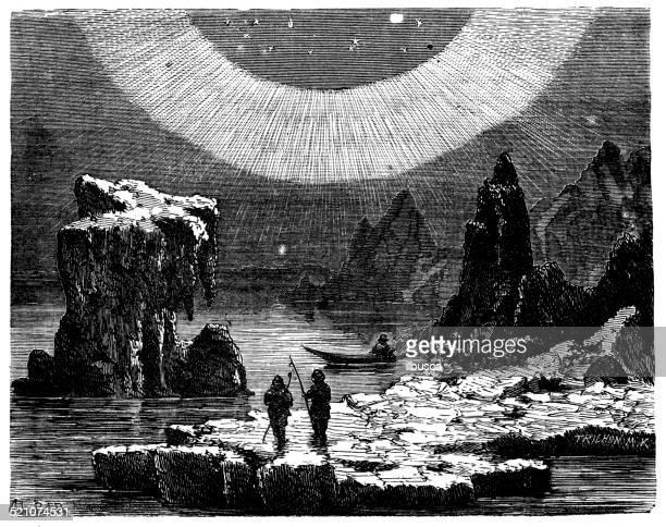 antique illustration of aurora borealis - aurora borealis stock illustrations