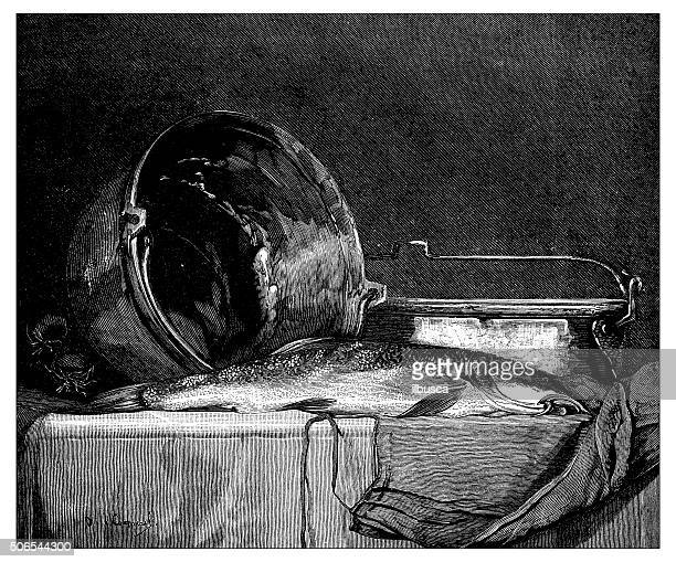 antique illustration of barbel (fish) on a table - auvergne rhône alpes stock illustrations, clip art, cartoons, & icons