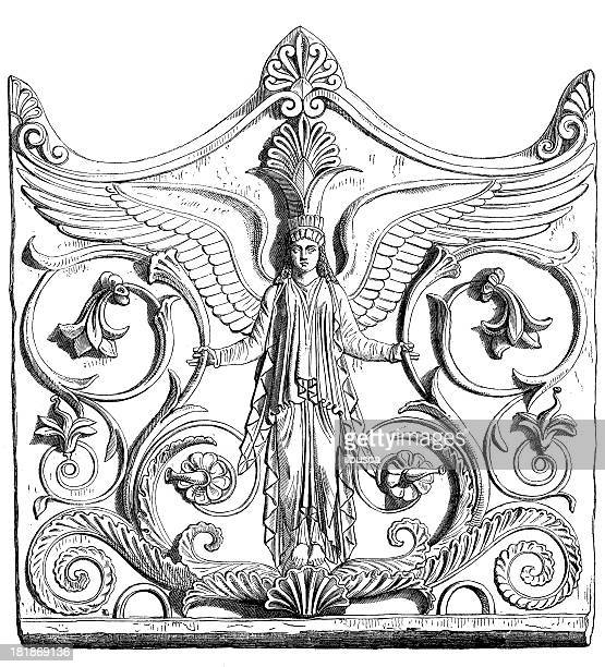 antique illustration of bas relief - bas relief stock illustrations