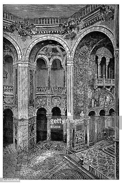 ilustrações de stock, clip art, desenhos animados e ícones de antigo ilustração de basílica de san vitale-interior (ravenna, itália - nicho