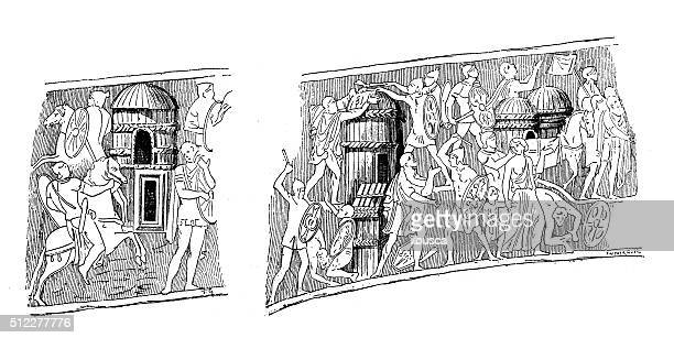 antique illustration of bas-relief with battle scene in barbarian village - bas relief stock illustrations