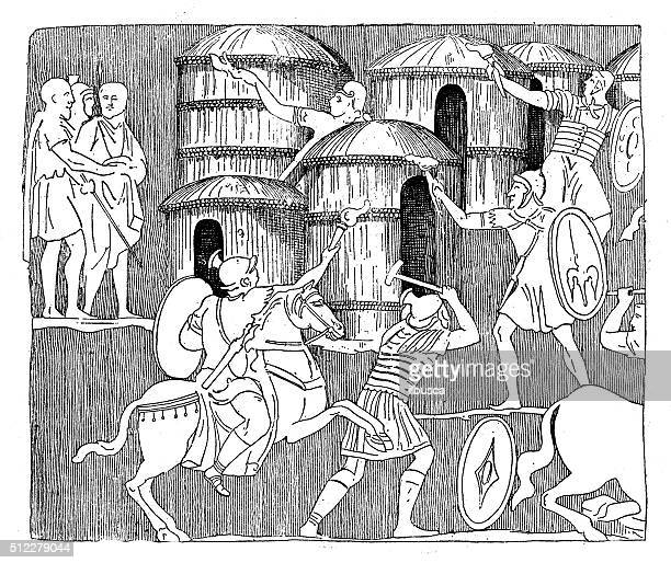 Antique illustration of battle in a Barbarian village