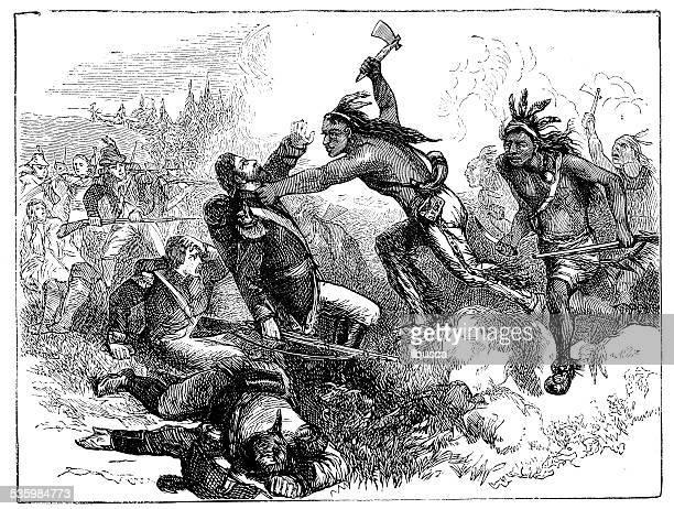 ilustrações, clipart, desenhos animados e ícones de antigo ilustração de batalha de tippecanoe - índia