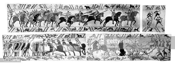 antique illustration of bayeux tapestry - normandy stock illustrations
