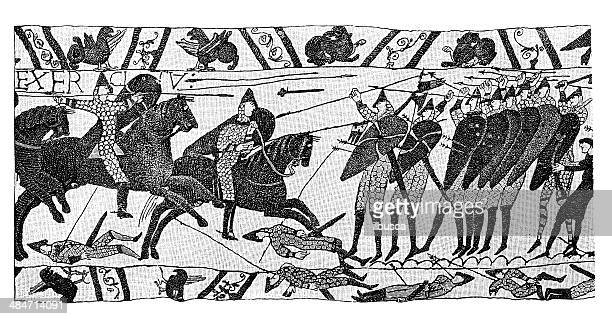 antique illustration of bayeux tapestry - normandy stock illustrations, clip art, cartoons, & icons