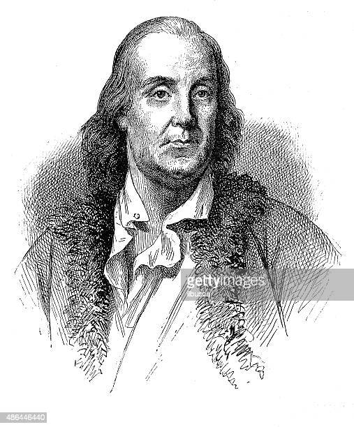 antique illustration of benjamin franklin - benjamin franklin stock illustrations, clip art, cartoons, & icons