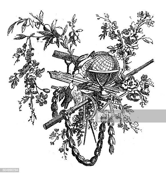antique illustration of birds and flowers with science related instruments - protractor stock illustrations, clip art, cartoons, & icons