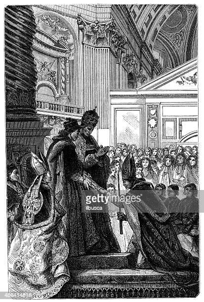 ilustrações, clipart, desenhos animados e ícones de antigo ilustração de bishop e pope - bishop clergy
