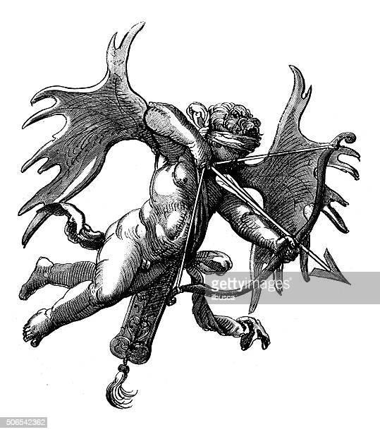 ilustraciones, imágenes clip art, dibujos animados e iconos de stock de anticuario ilustración de blindfolded cupid shooting una flecha - ojos tapados