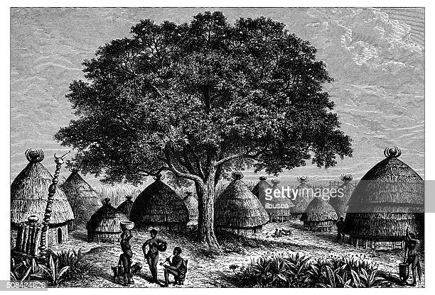 antique illustration of bongo huts in the nile valley - hut stock illustrations