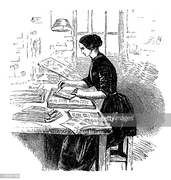 antique illustration of book production, printing press, typography - drawing artistic product stock illustrations