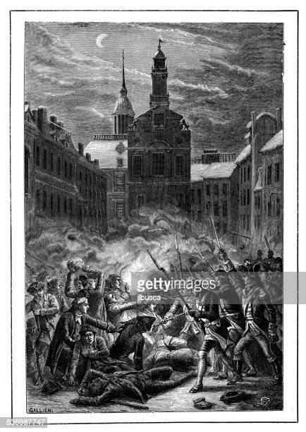 antique illustration of boston massacre (incident on king street) - mass murder stock illustrations
