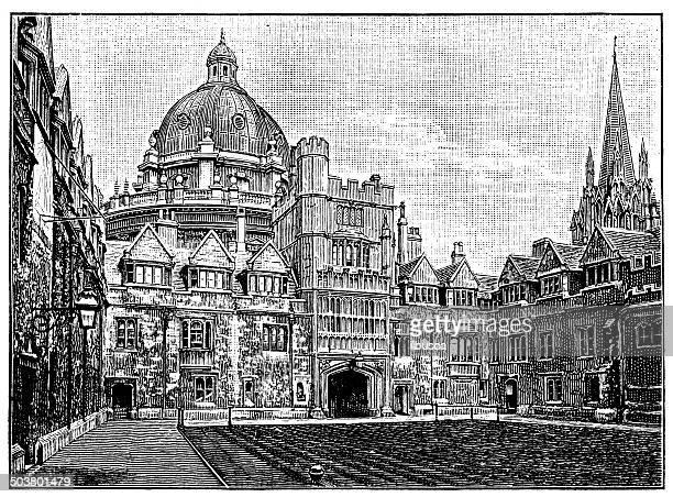 Antique illustration of Brasenose College, Oxford