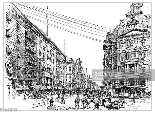 antique illustration of broadway - post office stock illustrations, clip art, cartoons, & icons