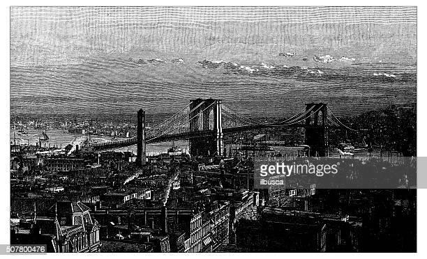 antique illustration of brooklyn bridge from the new york side - brooklyn new york stock illustrations, clip art, cartoons, & icons