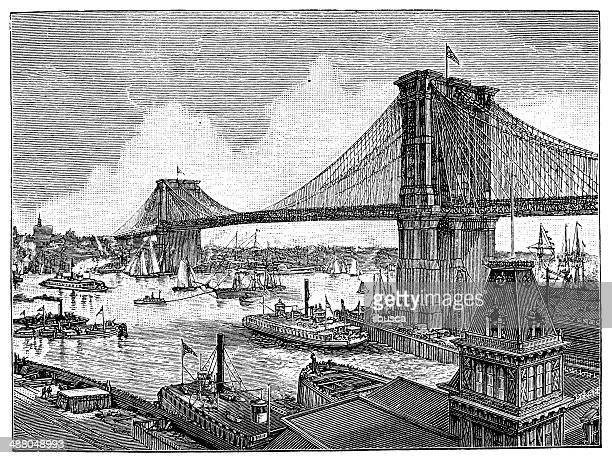 antique illustration of brooklyn suspension bridge - brooklyn bridge stock illustrations, clip art, cartoons, & icons