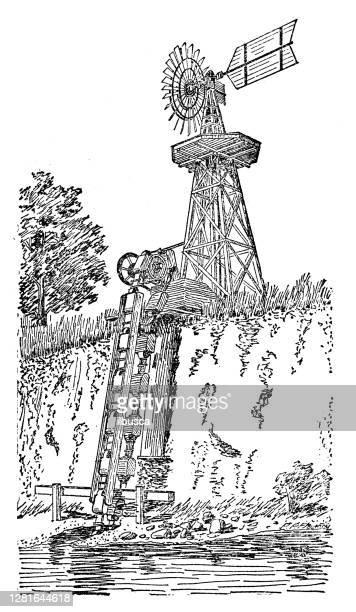 """illustrazioni stock, clip art, cartoni animati e icone di tendenza di antique illustration of bucket pump operated by windmill - """"ilbusca"""""""