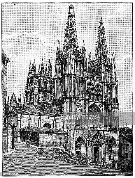 Antique illustration of Burgos Cathedral