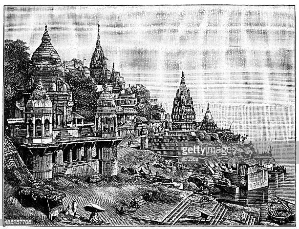antique illustration of burning ghats of varanasi (benares) - varanasi stock illustrations