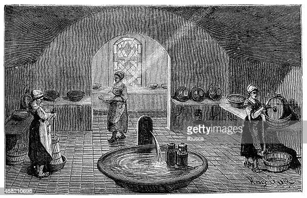 Antique illustration of butter and cheese production