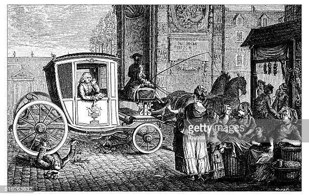 antique illustration of carriage run over man - horsedrawn stock illustrations, clip art, cartoons, & icons