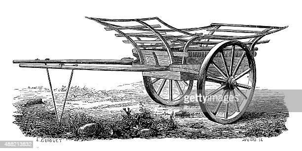 antique illustration of cart - horse cart stock illustrations, clip art, cartoons, & icons