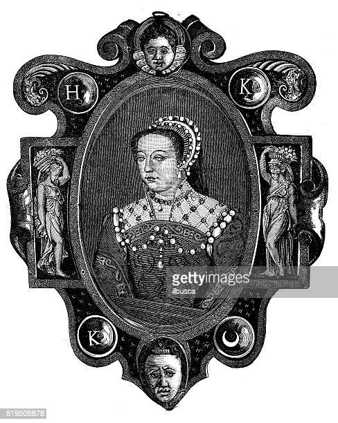 アンティークのイラストレーションカタリーヌヂメージシ、フランス王妃 - カトリーヌ・ド・メディシス点のイラスト素材/クリップアート素材/マンガ素材/アイコン素材