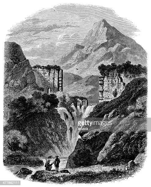 antique illustration of cause river waterfall in aix - aqueduct stock illustrations, clip art, cartoons, & icons