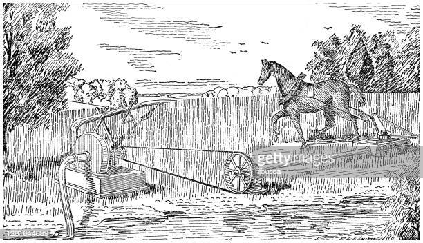 """illustrazioni stock, clip art, cartoni animati e icone di tendenza di antique illustration of centrifugal pump operated by horse power - """"ilbusca"""""""