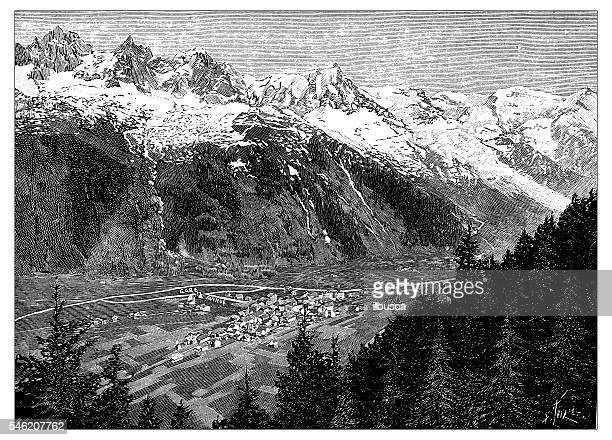 antique illustration of chamonix, mont blanc - mont blanc stock illustrations, clip art, cartoons, & icons
