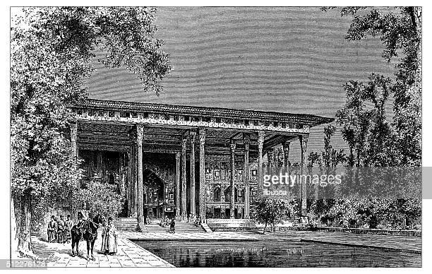 illustrazioni stock, clip art, cartoni animati e icone di tendenza di illustrazione di antico chehel sotoun (padiglione a isfahan, iran - 20th century style