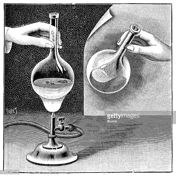 Antique illustration of chemistry experiment