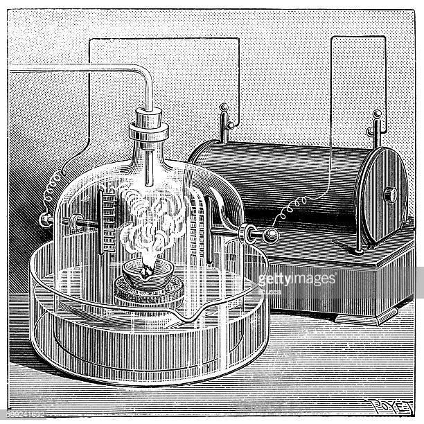 antique illustration of chemistry experiment - bunsen burner stock illustrations